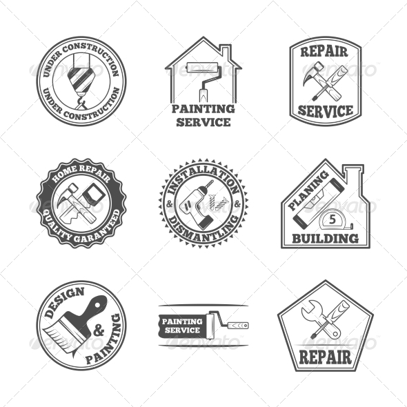 GraphicRiver Home Repair Tools Labels Icons 8617656