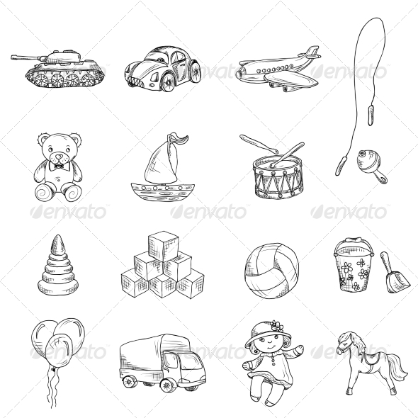 GraphicRiver Toys Sketch Icons Set 8617680