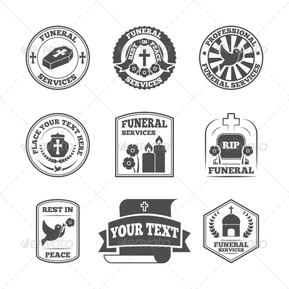 GraphicRiver Funeral Labels Icons Set 8617750