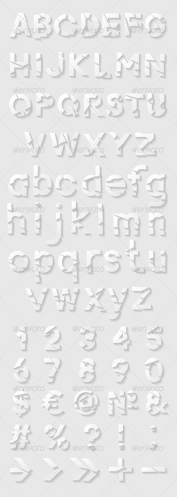 GraphicRiver Paper Alphabet with Cut Letters Numbers and Symbols 8617780