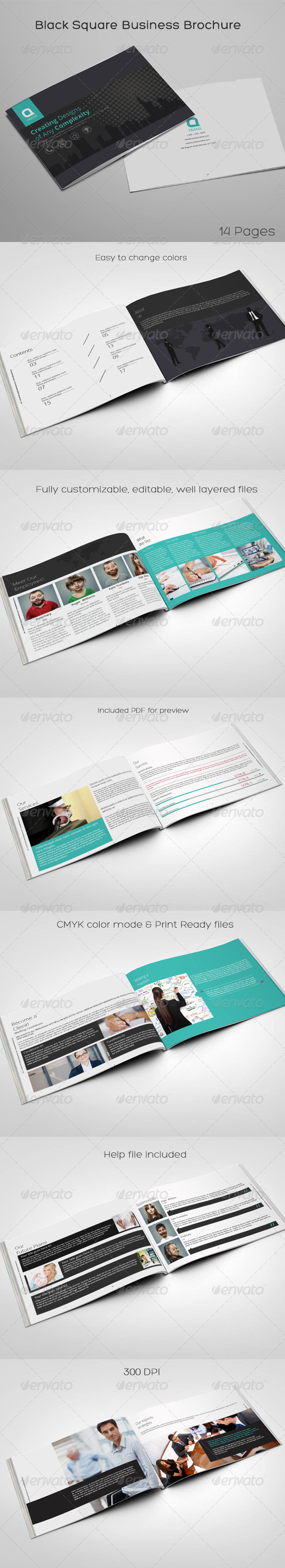 Black Square Business Brochure - Brochures Print Templates