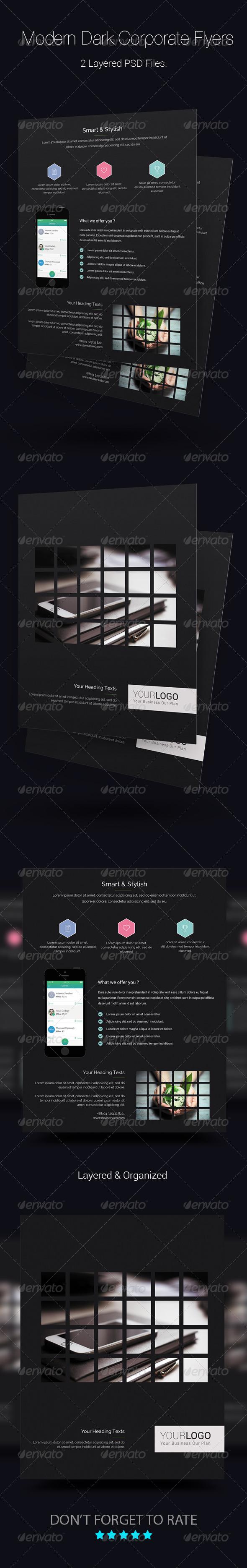 GraphicRiver Modern Dark Corporate Flyer Templates 8618326
