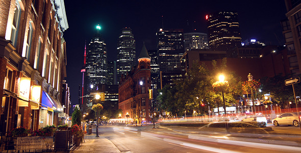Modern City Street at Night