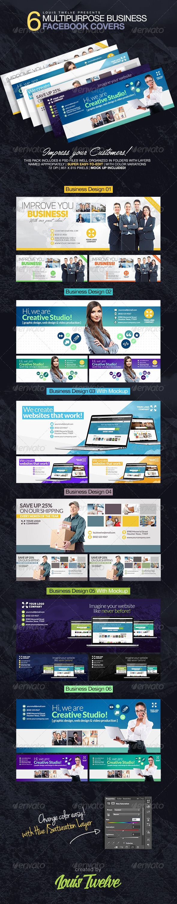 GraphicRiver 6 Multipurpose Business Facebook Covers 8619269