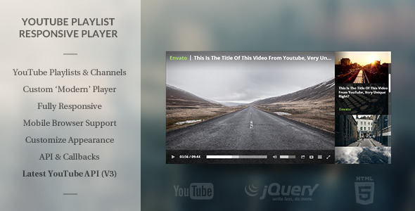 CodeCanyon Modern HTML5 Responsive Youtube Playlist Player 8619272