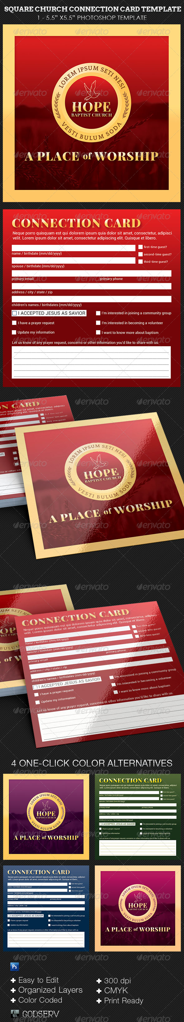 GraphicRiver Square Church Connection Card Template 8619415
