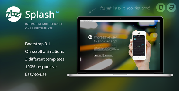 ThemeForest Zbz Splash Interactive One-Page Template 8547091