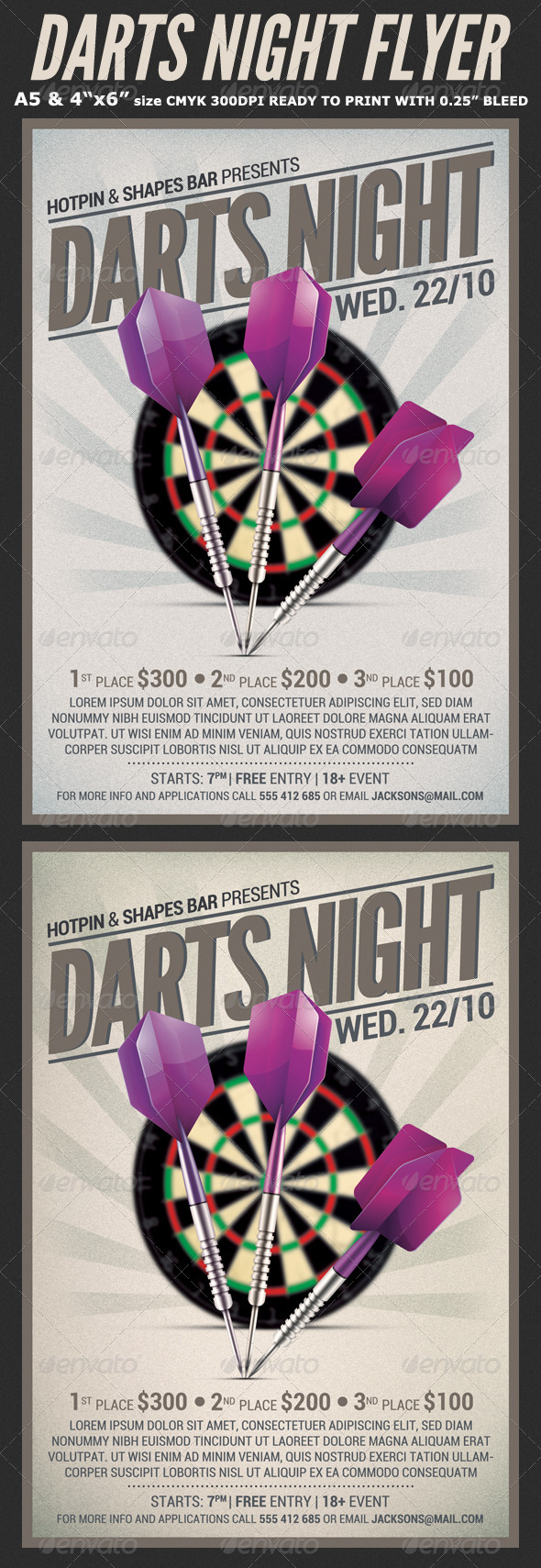 GraphicRiver Darts Night Flyer Template 8619709