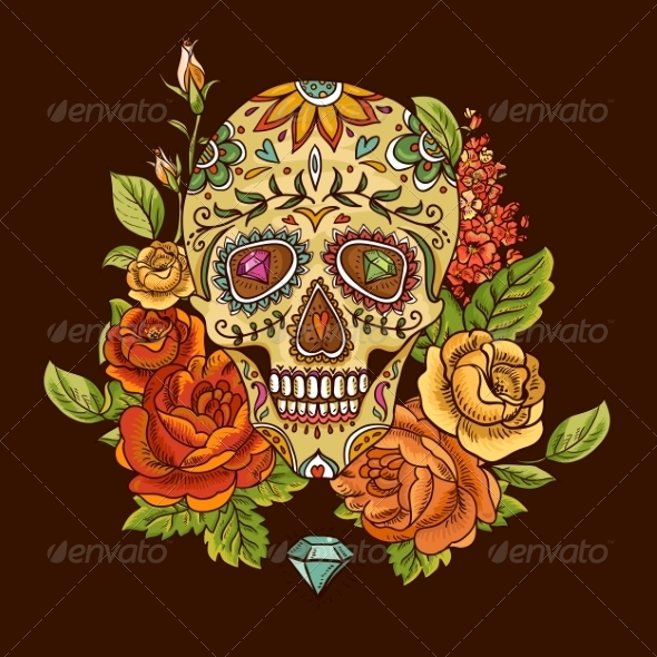 GraphicRiver Skull and Flowers Day of The Dead 8619834