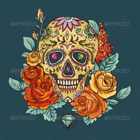 GraphicRiver Skull and Flowers Day of The Dead 8619835