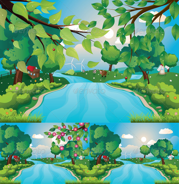 GraphicRiver Hills and River 8619977