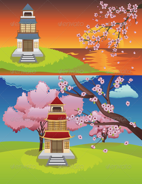 GraphicRiver Oriental House and Blooming Sakura 8619982