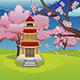 Oriental House and Blooming Sakura - GraphicRiver Item for Sale