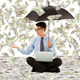 young business man holding a umbrella with dollar rain background - PhotoDune Item for Sale