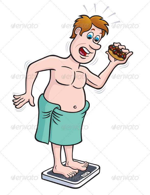 GraphicRiver Overweight Man on Bathroom Scale 8620222