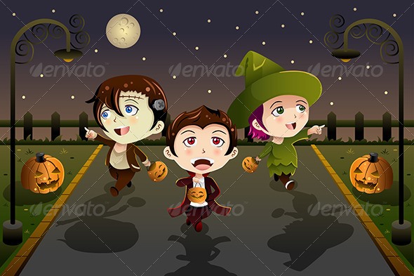 GraphicRiver Kids Wearing Halloween Costumes 8620224