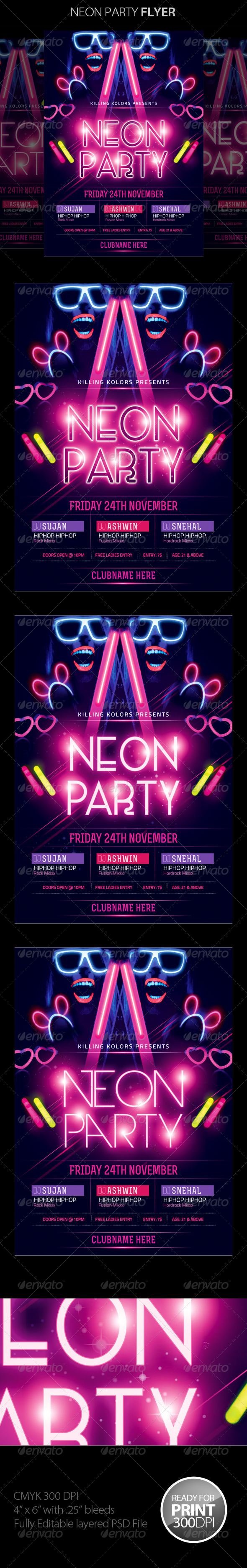 GraphicRiver Neon Glow Party Flyer 8620238