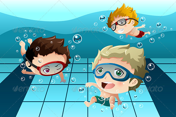 GraphicRiver Kids Having Fun in the Swimming Pool 8620240