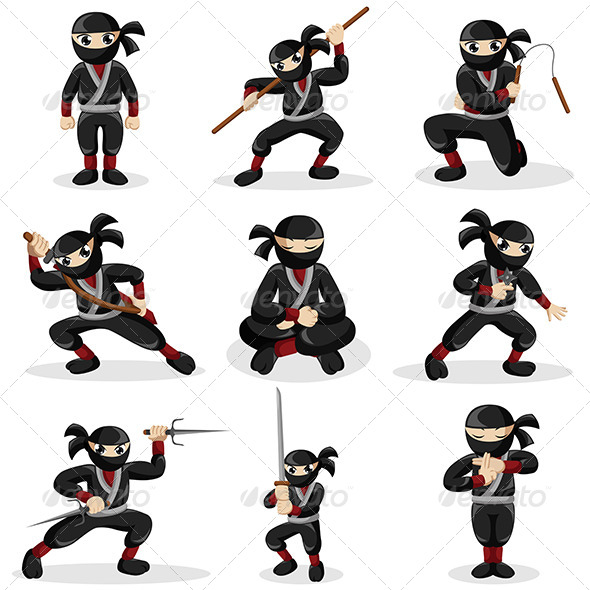GraphicRiver Ninja Kids in Different Poses 8620597