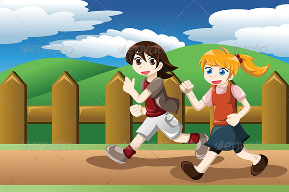 GraphicRiver Girls Running Outdoor 8620661