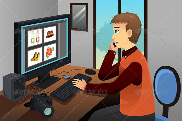 GraphicRiver Photographer Working on Editing Pictures 8620665