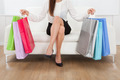 Woman With Multicolored Shopping Bags At Home - PhotoDune Item for Sale