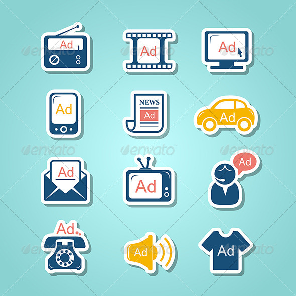 GraphicRiver Advertisement Paper Cut Icons 8620683