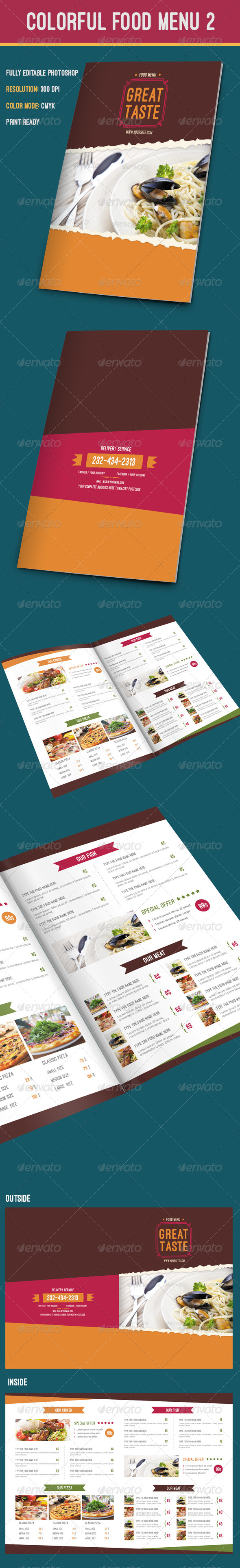 GraphicRiver Colorful Food Menu 8611196