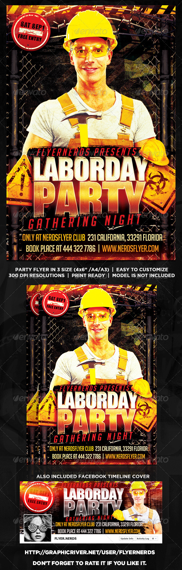 GraphicRiver LaborDay Night Party Flyer 8620770