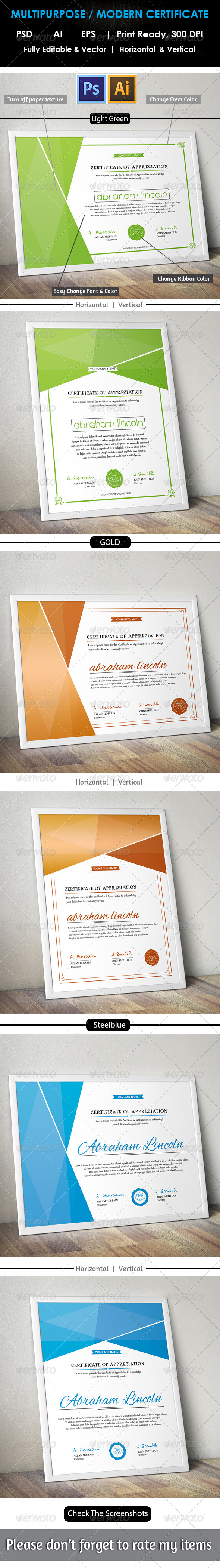 GraphicRiver Simple Multipurpose Certificate GD012 8620898