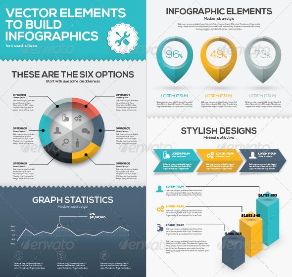 Vector Infographic Chart Elements to Business Data