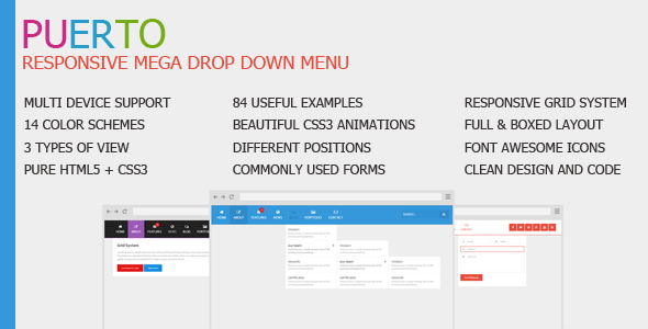 CodeCanyon Puerto Responsive Mega Drop Down Menu 8621079