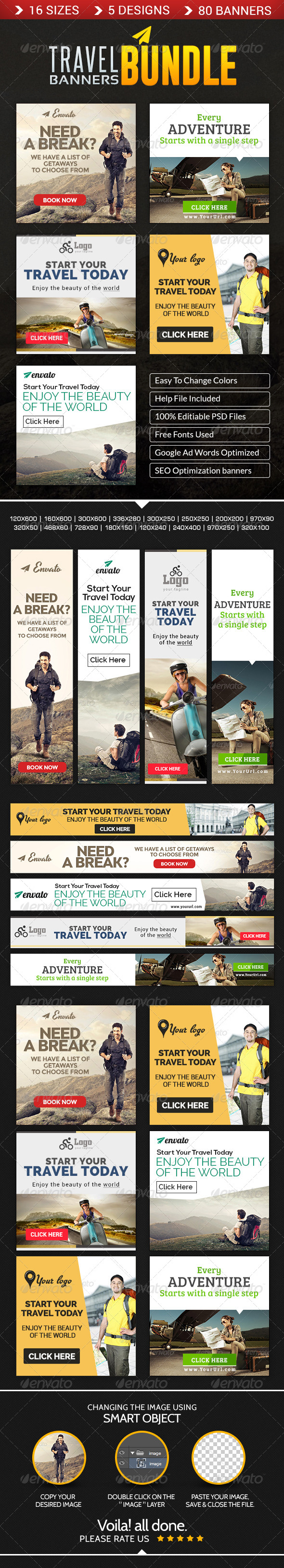 GraphicRiver Travel Banner Bundle 5 Sets 8621358