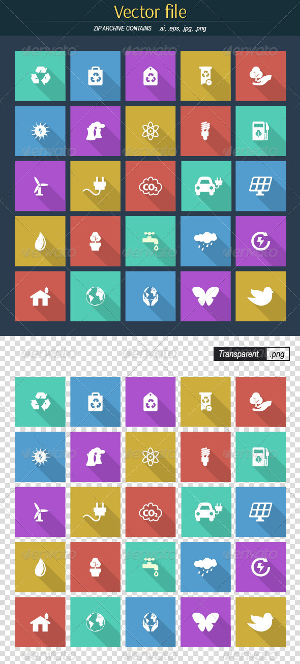 GraphicRiver Flat Environmental Icons 8621500