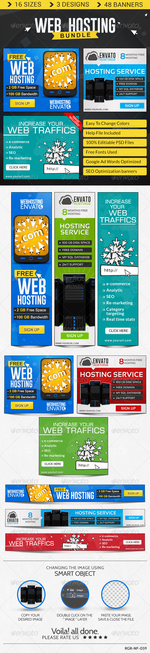 GraphicRiver Web Hosting Banner Bundle 3 Sets 8621539