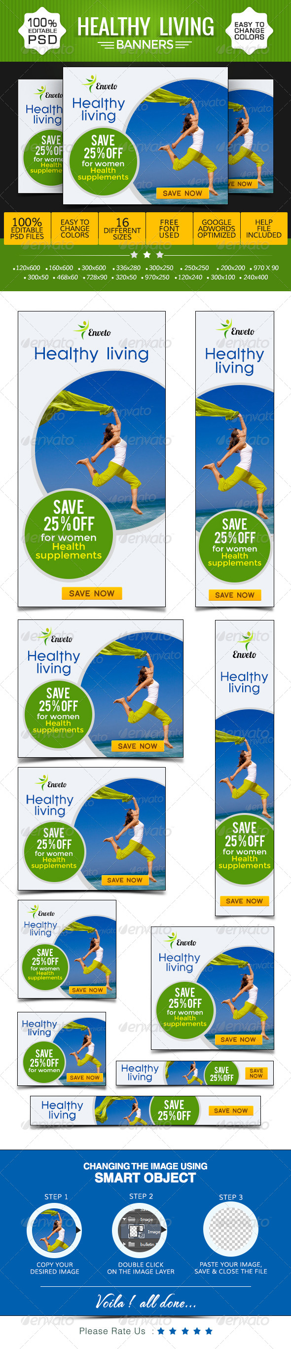 GraphicRiver Health & Life Style Banners 8621624