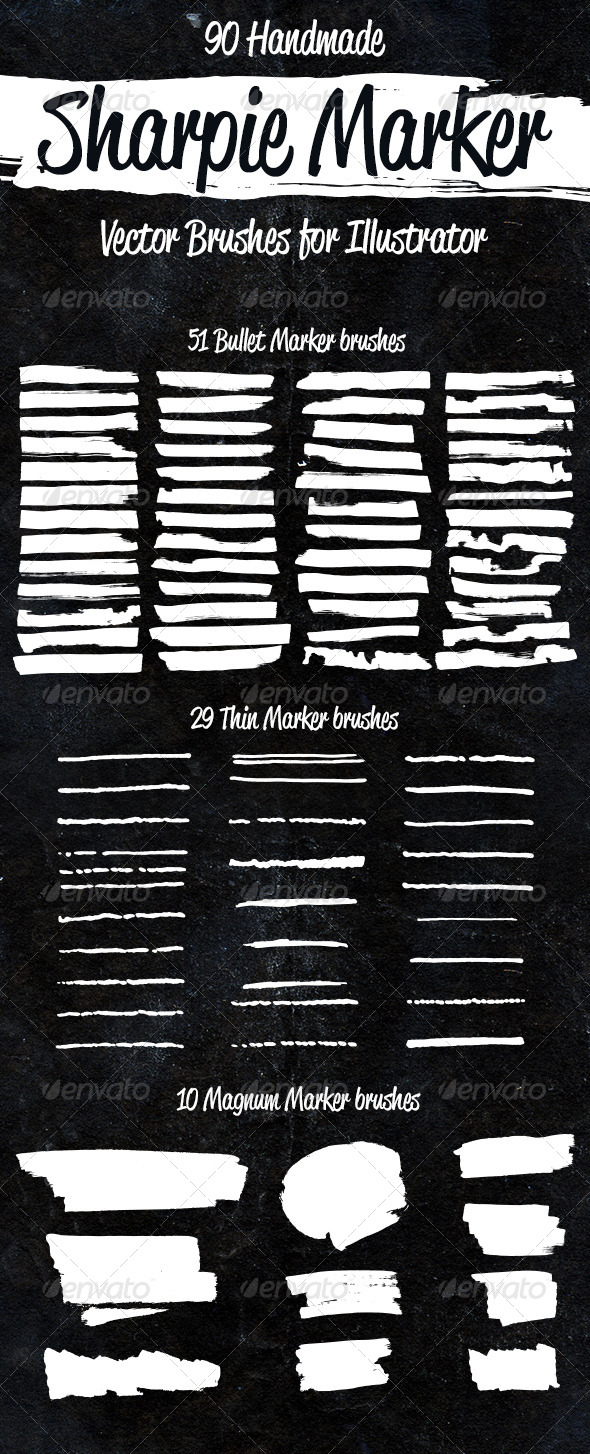 GraphicRiver 90 Sharpie Marker Vector Brushes 8621680