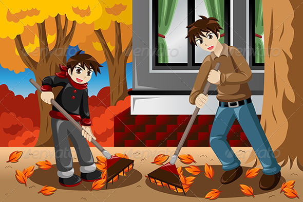 GraphicRiver Father & Son Raking Leaves 8621901