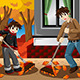 Father & Son Raking Leaves - GraphicRiver Item for Sale