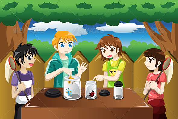 GraphicRiver Kids Catching Bugs 8621909