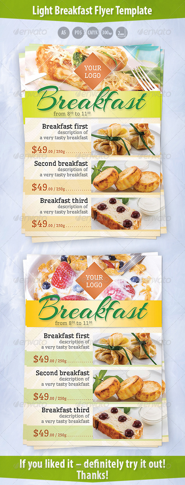 GraphicRiver Light Breakfast Flyer Template 8560101