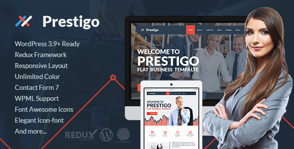 ThemeForest Prestigo Flat Premium Wordpress Theme 8606439