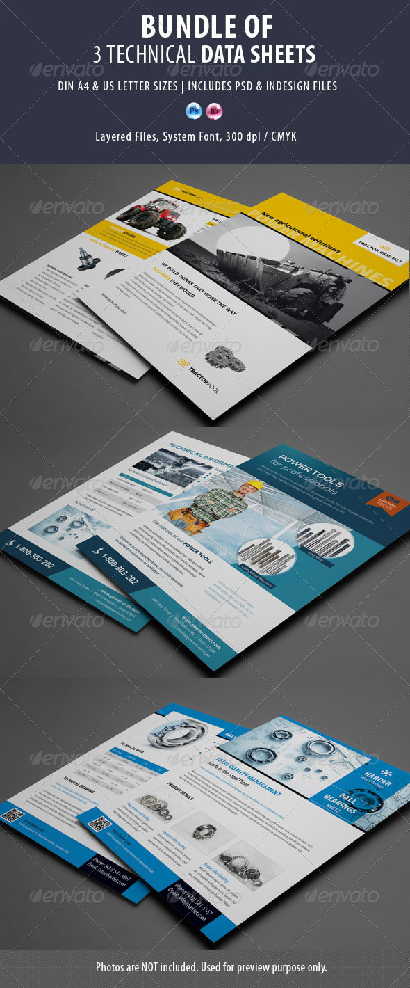 GraphicRiver 3 Technical Data Sheets Bundle 8622644
