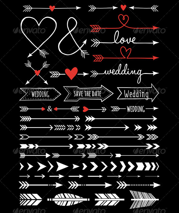 GraphicRiver Hand-Drawn Wedding Arrows 8622725