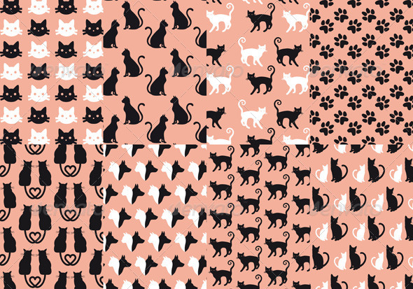 GraphicRiver Cat And Dog Seamless Pattern Vector Set 8622728