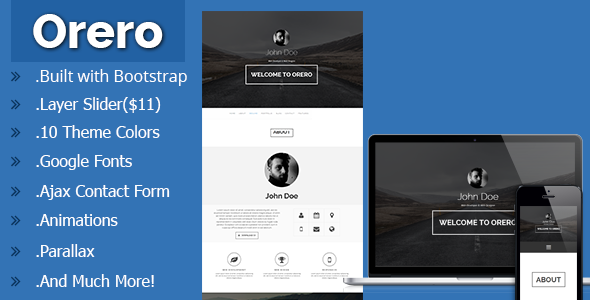Orero Responsive One Page vCard Template - Virtual Business Card Personal