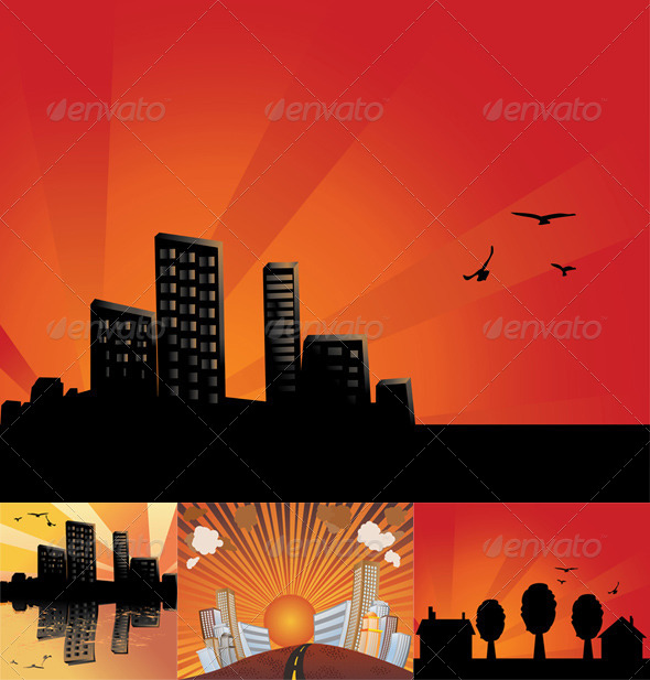 GraphicRiver Sunset City Background 8624023