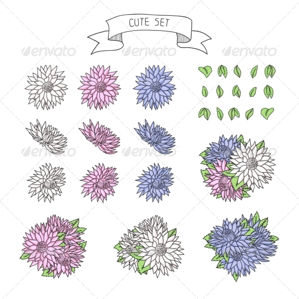 GraphicRiver Hand Drawn Vintage Floral Elements for a Wedding 8624098