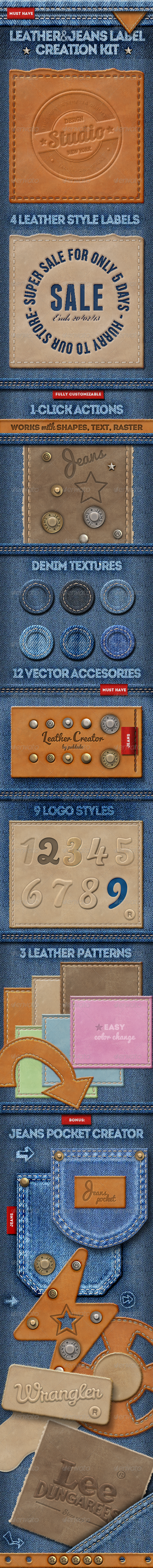 Leather Jeans Label Photoshop Creator - Utilities Actions