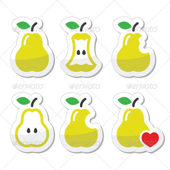 GraphicRiver Pear Pear Core Bitten Half Vector Icons 8624769